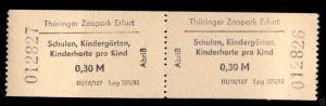 Zwei Eintrittskarten, Thüringer Zoopark Erfurt, 1985