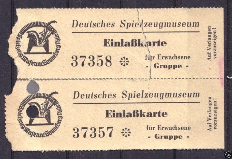 Zwei Eintrittskarten, Deutsches Spielzeugmuseum Sonnerberg, verm. 1950er Jahre