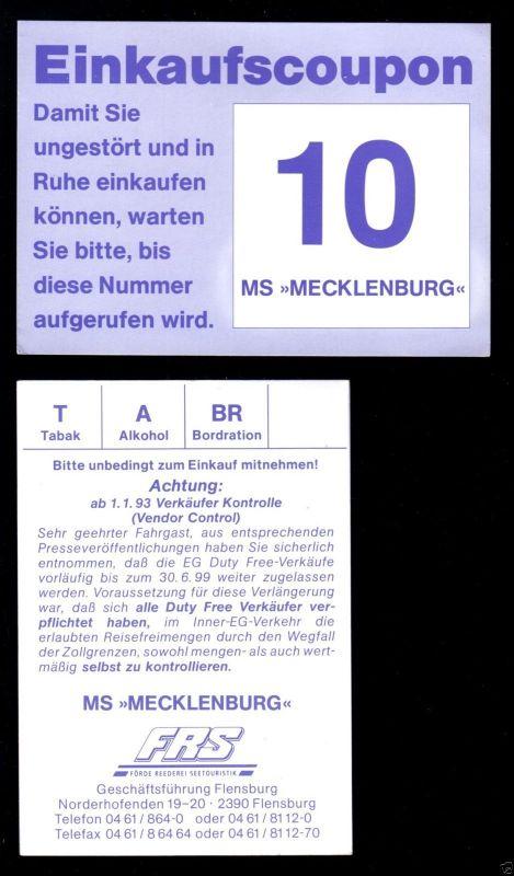 Zwei Einkaufscoupons, Einkauf im Duty Free Shop auf der MS Mecklenburg, 1993