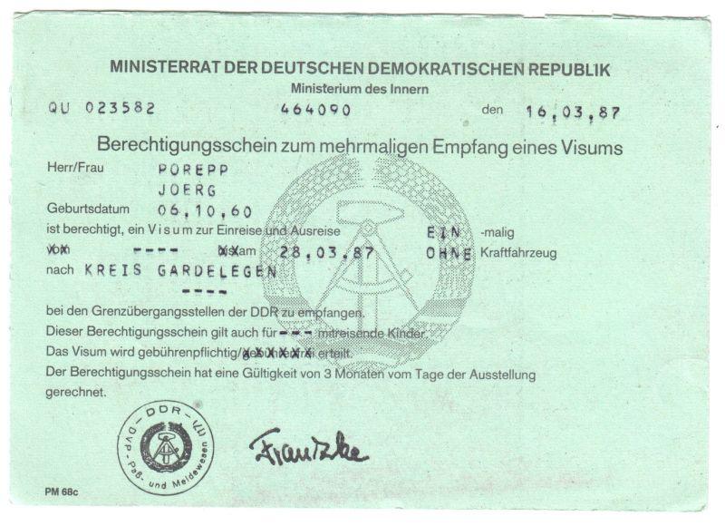 Visaunterlagen zur Einreise in die DDR und Beleg Zwangsumtausch, 1987/89