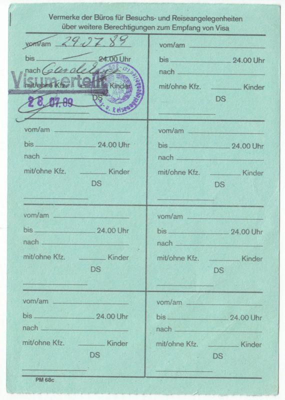 Visaunterlagen zur Einreise in die DDR und Beleg Zwangsumtausch, 1987/89 2