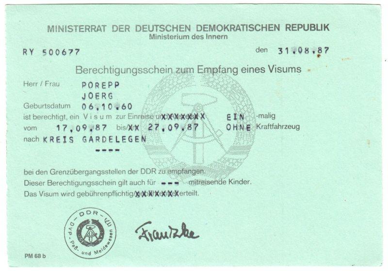 Visaunterlagen zur Einreise in die DDR und Beleg Zwangsumtausch, 1987/89 3