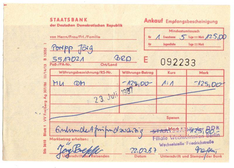 Visaunterlagen zur Einreise in die DDR und Beleg Zwangsumtausch, 1987/89 4