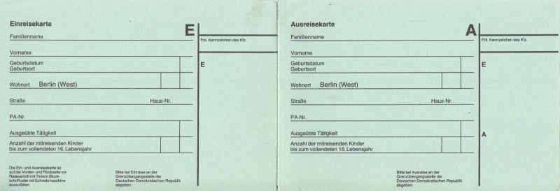 Visaunterlagen zur Einreise in die DDR und Beleg Zwangsumtausch, 1987/89 5