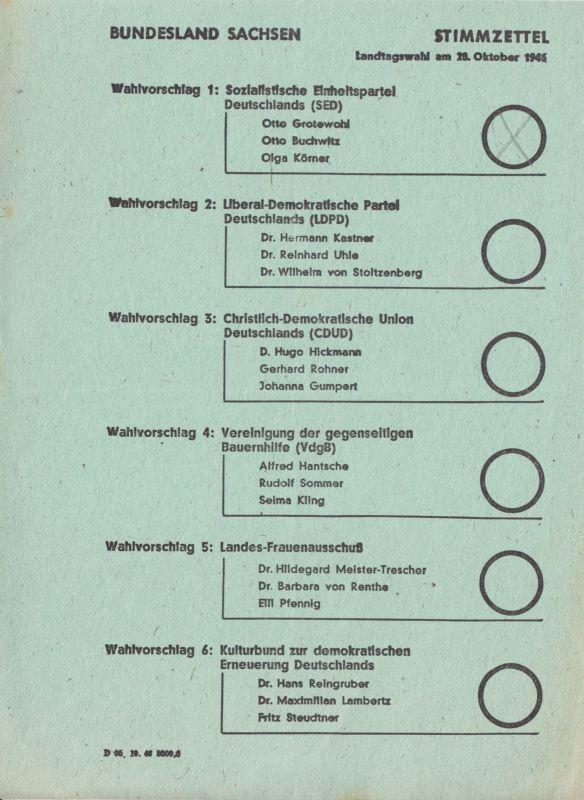 Stimmzettel, Landtagswahl, Bundesland Sachsen, 20. Oktober 1946