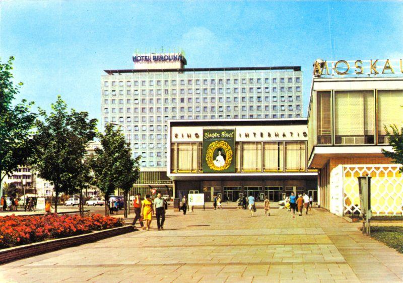 Ansichtskarte, Berlin Mitte, Interhotel Berolina (abgerissen) und Kino International, 1972