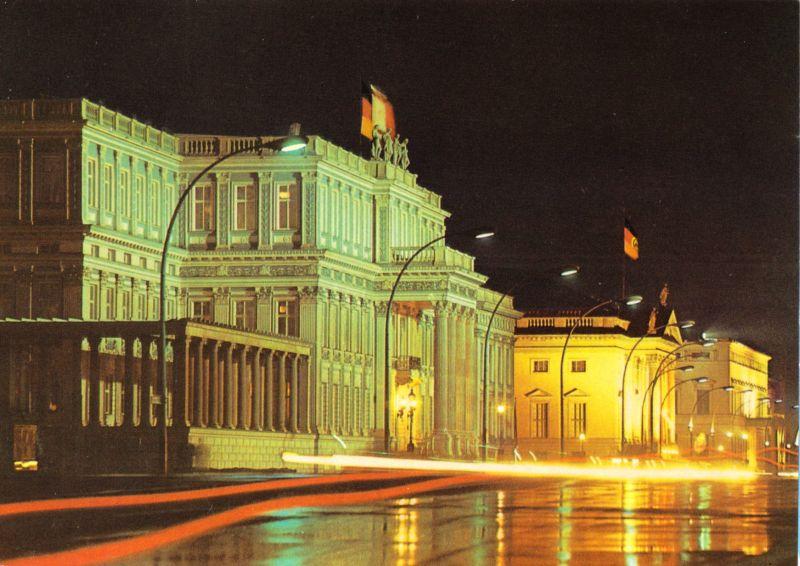 Ansichtskarte, Berlin Mitte, Palais Unter den Linden, Nachtansicht, 1973