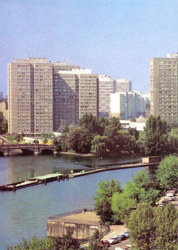 Ansichtskarte, Berlin Mitte, Hochhäuser auf der Fischerinsel, 1980