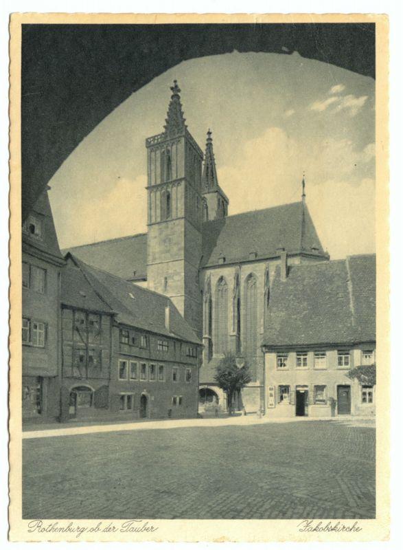 Ansichtskarte, Rothenburg ob der Tauber, Partie an der Jakobskirche, um 1960