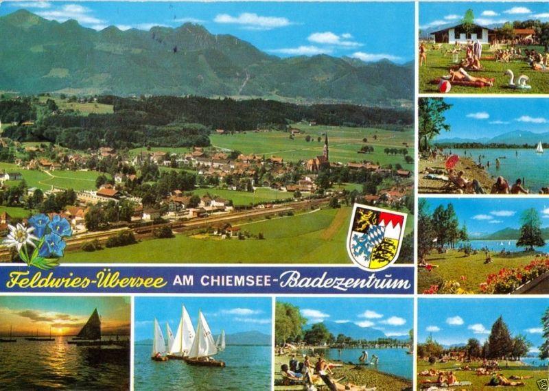 Ansichtskarte, Feldwies-Übersee am Chiemsee, Badezentrum, acht Abb., 1981