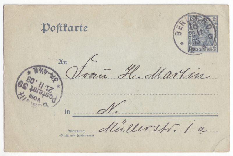 Ganzsache, Michel-Nr. DR P 63, mit Originalzeichnung, o Berlin NO 18, 21.11.03