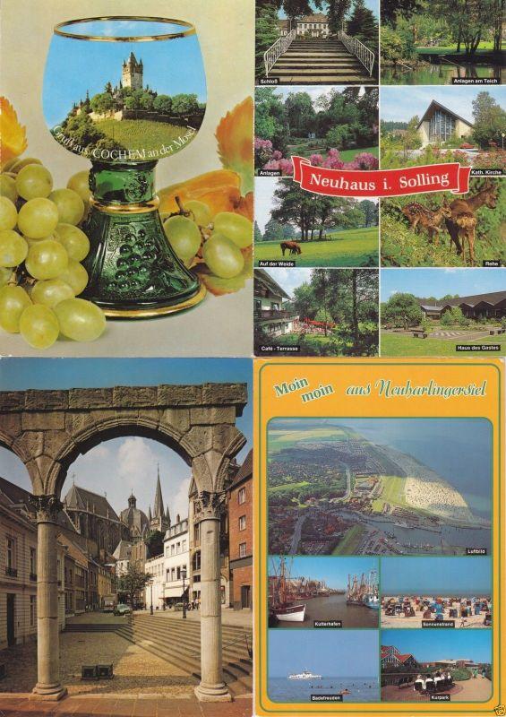 Posten  von über 100 Color-Ansichtskarte, quer durch die alte BRD, 1980er/90er
