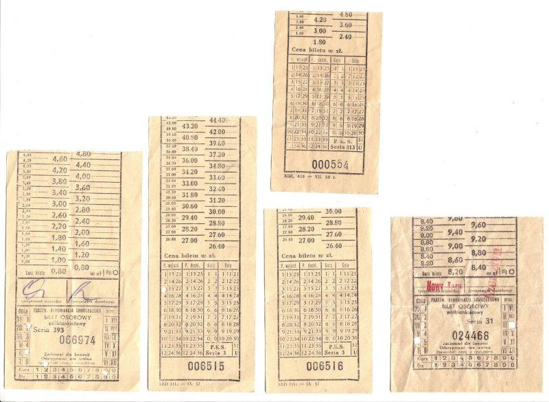 Neun Fahrkarten, Polnische Eisenbahn, 1957/58