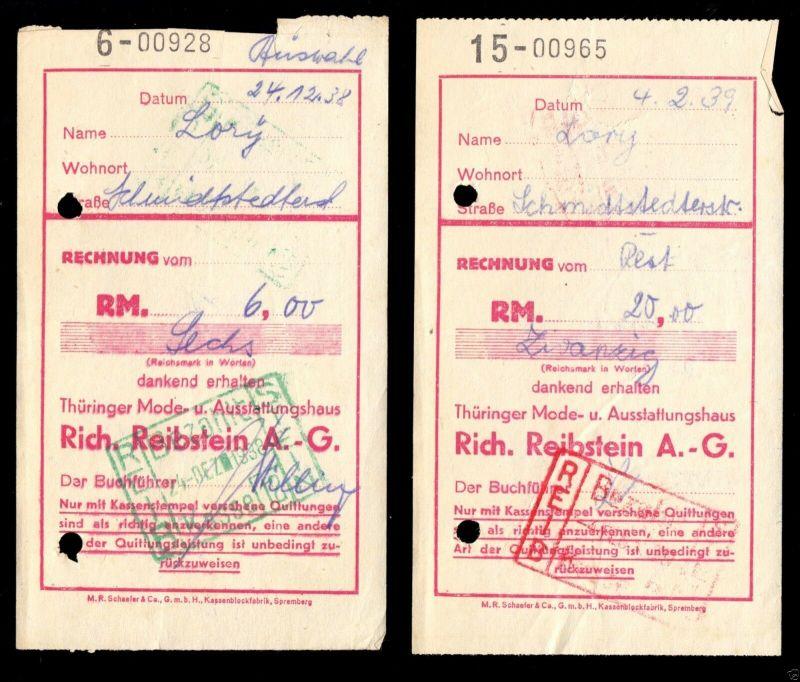 Vier Einzahlungsscheine zu Gunsten der Fa. Rich. Reibstein AG, Erfurt, 1938