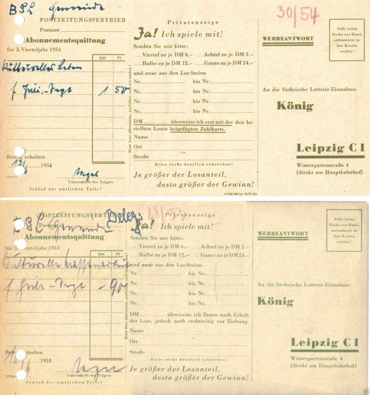 Vier Abo-Quittungen des Postzeitungsvertriebes mit Werbung Landeslotterie, 1953