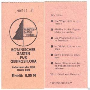 Zwei Eintrittskarten, Oberhof Thür., Rennsteiggarten, 1977