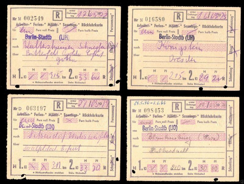 Vier Ferienrückfahrkarten der Deutschen Reichsbahn, 1972 - 1975