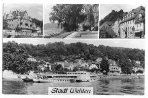 Ansichtskarte, Stadt Wehlen Sächs. Schweiz, vier Abb., 1968