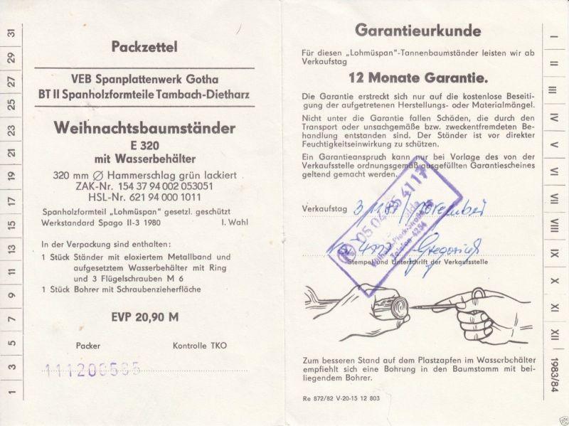 VEB Spanplattenwerk Gotha, Garatieschein für Weihnachtsbaumständer, 1982
