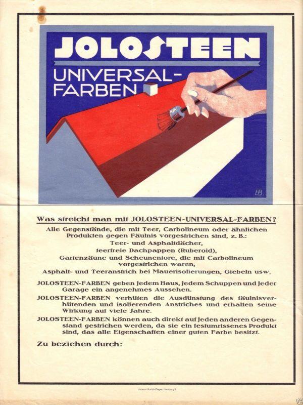 Werbeblatt der Fa. Johann Hinrich Meyer, Hamburg 8 für Jolosteen Farben, um 1952