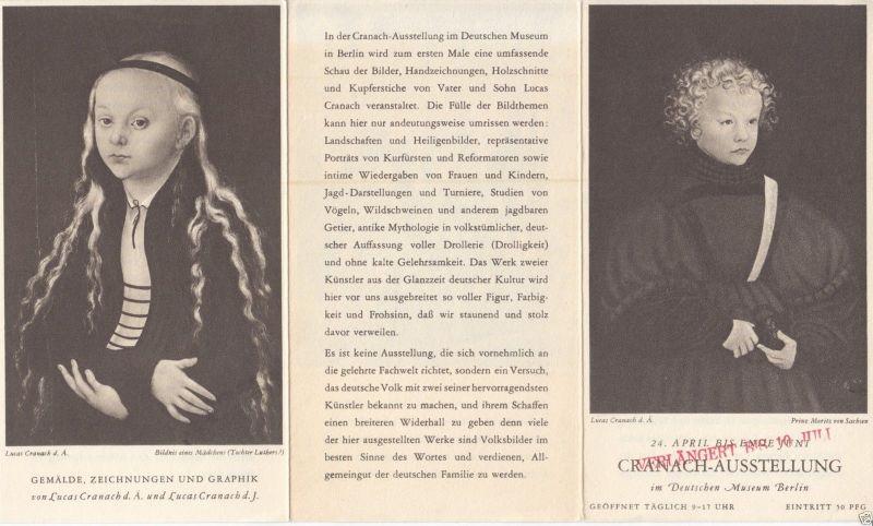 Werbezettel für die Cranach-Ausstellung im Deutschen Museum Berlin, 1937