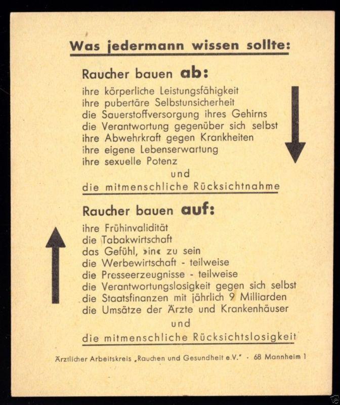 Werbekarte gegen das Rauchen, unfreundliche Tonlage, um 1970