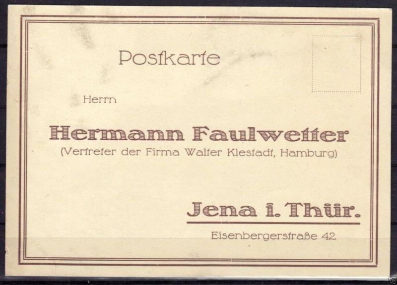 Vertreterkarte / Postkarte der Fa. Hermann Faulwetter, Jena für Löschpapier 1938