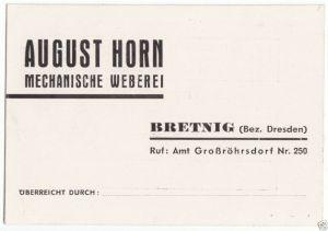 Vertreterkarte, Fa. August Horn, Mechanische Weberei, Bretnig Bez. Dresden, 1950