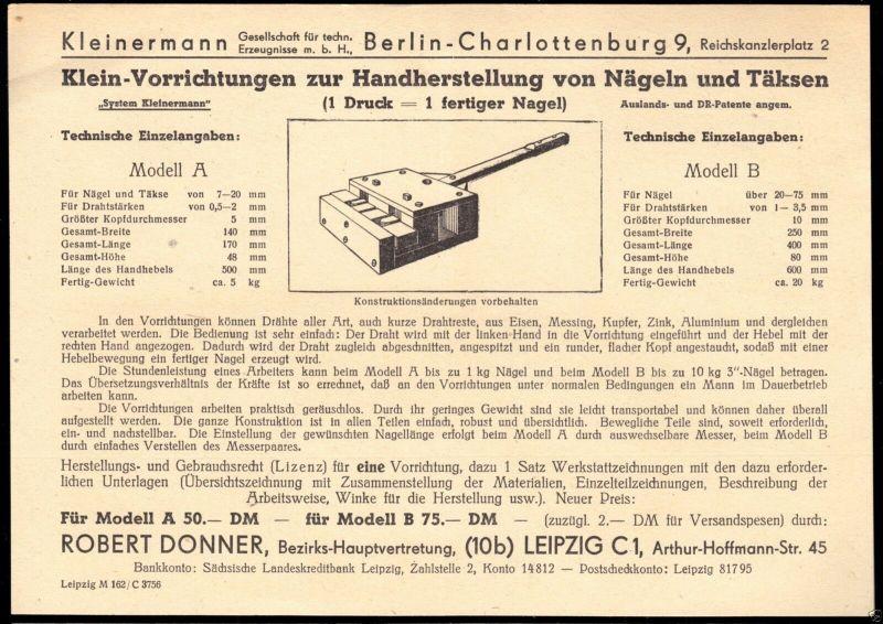 Werbeblatt, Fa. Kleinermann Berlin Charlottenburg 9 für Vorrichtungen.., um 1950