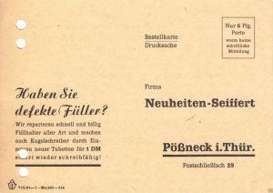 Werbezettel, Fa. Neuheiten - Seiffert, Füllhalter und Kugelschreiber, 1954