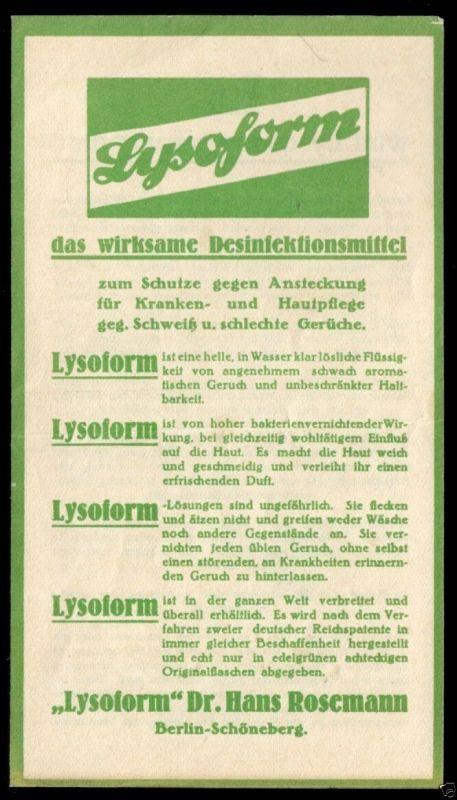 Werbezettel, Lysoform Dr. Hans Rosemann, Berlin Schöneberg, um 1930