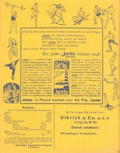 Werbeblatt der Fa. Ulbrich u. Co. m.b.H., Leipzig W 33, Jento-Kräftigungstrank