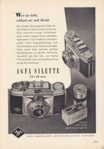 Zeitschriftenwerbung, Fototechnik, Fotoapparate der Fa. AGFA, vier Blatt, 1950er