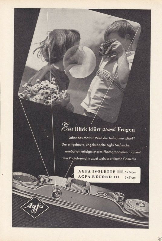 Zeitschriftenwerbung, Fototechnik, Fotoapparate der Fa. AGFA, vier Blatt, 1950er 1