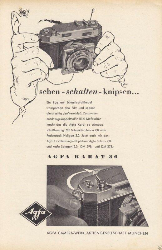 Zeitschriftenwerbung, Fototechnik, Fotoapparate der Fa. AGFA, vier Blatt, 1950er 2