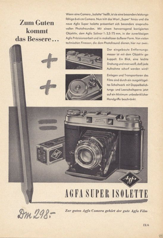 Zeitschriftenwerbung, Fototechnik, Fotoapparate der Fa. AGFA, vier Blatt, 1950er 3