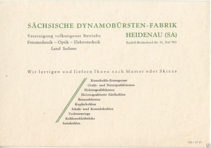 Vertreterkarte, Fa. Sächsische Dynamobürsten-Fabrik Heidenau (Sa), um 1950