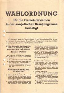 Wahlordnung und zwei Wahlscheine, Gemeindewahlen in der SBZ, Oktober 1946