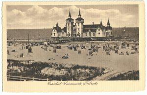 Ansichtskarte, Swinemünde, Świnoujście, Strand mit Blick zur Seebrücke, 1915