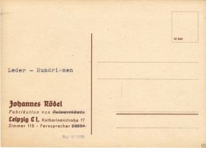 Werbekarte der Fa. Johannes Rödel, Leipzig C 1, blanko, um 1946