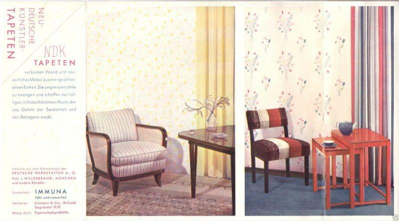 Werbezettel, Künstlertapeten der Fa. Erismann & Cie, Breisach, 1950er