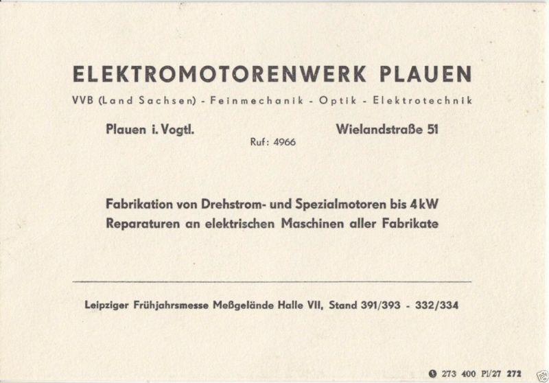 Vertreterkarte, Fa. Elektromotorenwerk Plauen, um 1950