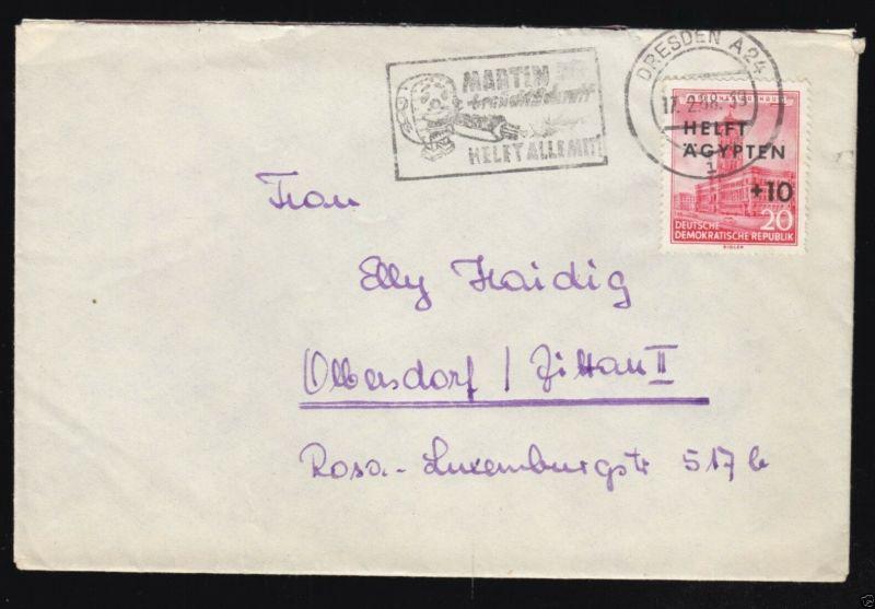 Bedarfsbrief, DDR, Mi.-Nr. 558, EF, o Dresden A 24, 17.2.58