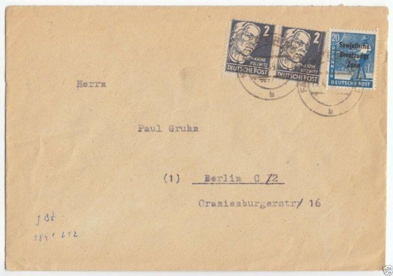 Bedarfsbeleg, SBZ / DDR, Mi.-Nr. 212 (2) Mif 189, Falkenstein (Vogtl), 13.4.49 0