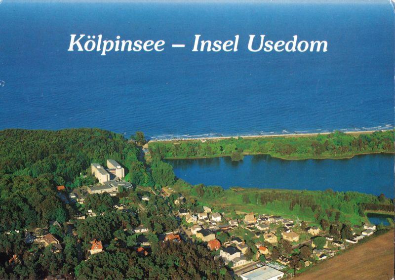 Ansichtskarte, Kölpinsee auf Usedom, Luftbildansicht, 1991