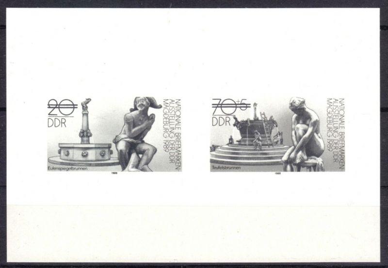 DDR, Mi.-Nr. DDR 3265/66, Schwarzdruck, 1989, Briefmarkenausstellung 1989