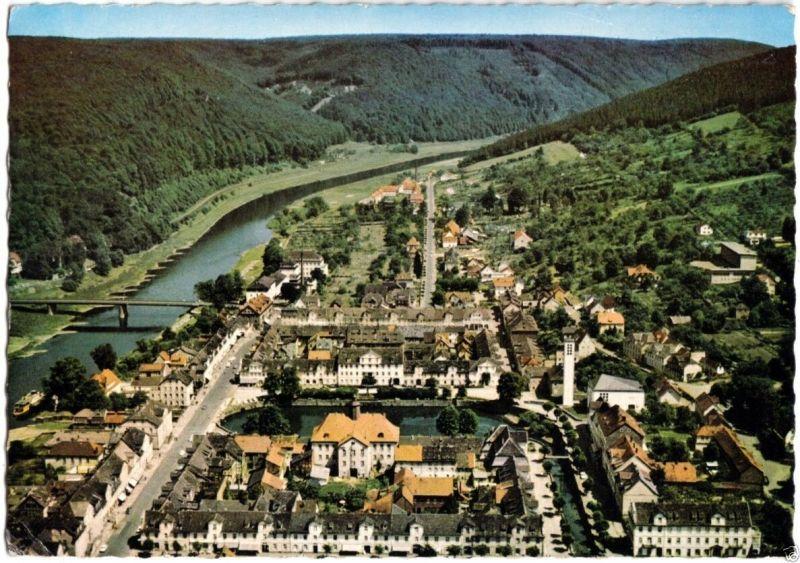 Ansichtskarte, Bad Karlshafen, Luftbildansicht, um 1963