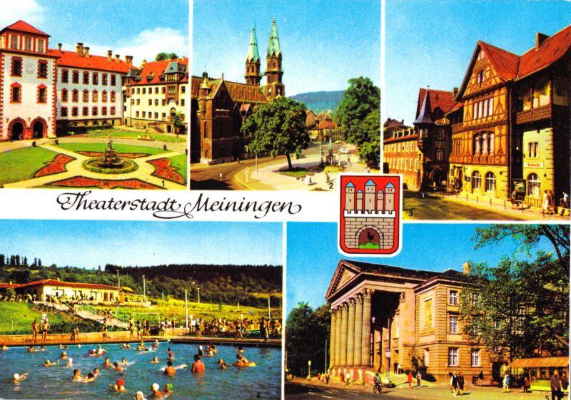 Ansichtskarte, Meiningen, Theaterstadt Meiningen, fünf Abb. und Wappen, 1984