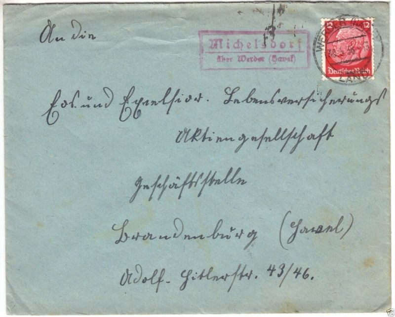 Landpoststempel, Poststelle II, Michelsdorf über Werder Havel, Werder, 30.5.38