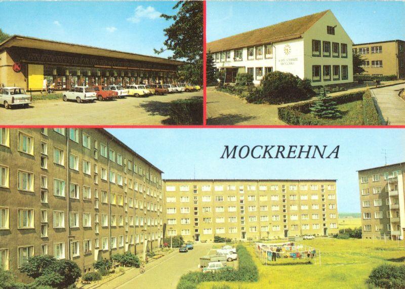 Ansichtskarte, Mockrehna Kr. Eilenburg, drei Abb., u.a. Konsum-Einkaufszentrum, 1988